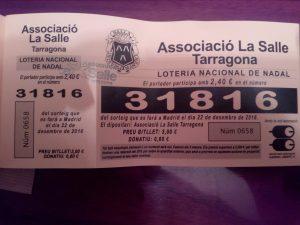 Número de la Loteria de Nadal 2016 de l'Associació